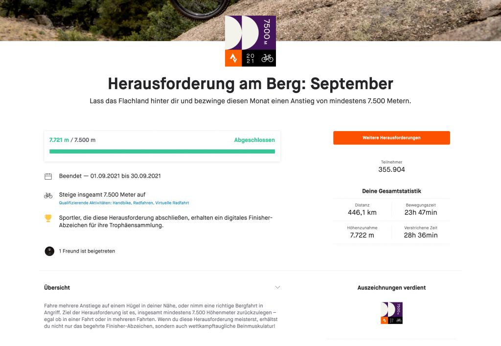 Screenshot Strava-Herausforderung am Berg